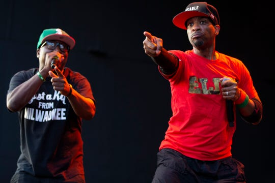 Masta Ace performs with Milwaukee native Stricklin at the U.S. Cellular Connection Stage on July 5, 2019.