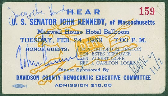 """A ticket from a 1959 Nashville banquet signed by John F. Kennedy; his wife, Jacqueline """"Jackie"""" Kennedy; and his brother Robert F. Kennedy is up for auction until July 10, 2019."""