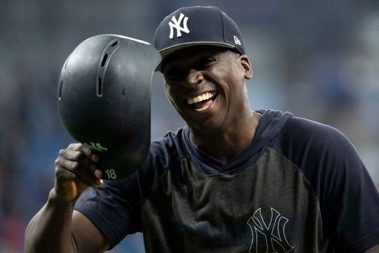 New York Yankees shortstop Didi Gregorius (18) smiles prior to the game between the Tampa Bay Rays and the New York Yankees at Tropicana Field. Mandatory Credit: