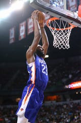 Jul 5, 2019; Las Vegas, NV, USA; New York Knicks center Mitchell Robinson dunks the ball against the New Orleans Pelicans during an NBA Summer League game at Thomas & Mack Center.