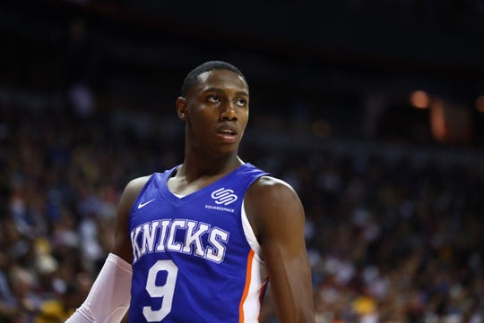 Jul 5, 2019; Las Vegas, NV, USA; New York Knicks guard R.J. Barrett against the New Orleans Pelicans during an NBA Summer League game at Thomas & Mack Center.