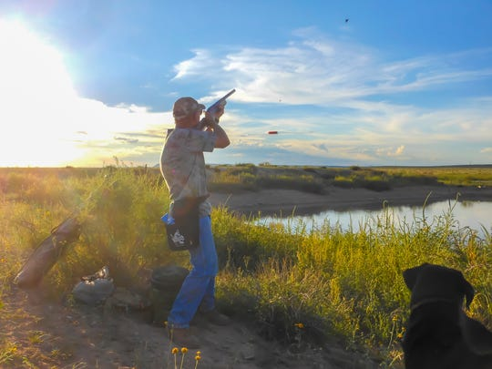 This hunter takes aim at a dove aboven public land west of Las Cruces. His dog waits patiently to retrieve.