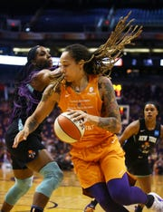 Mercury center Brittney Griner makes a move to the basket during a game  against the Liberty on July 5 at Talking Stick Resort Arena.