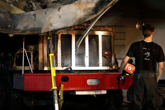 The damaged pumper tanker truck at the fire at Tivoli Fire Department on July 6, 2019.