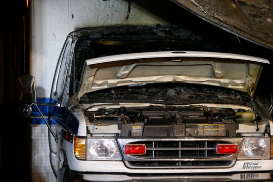 The damaged ambulance at the fire at Tivoli Fire Department on July 6, 2019.