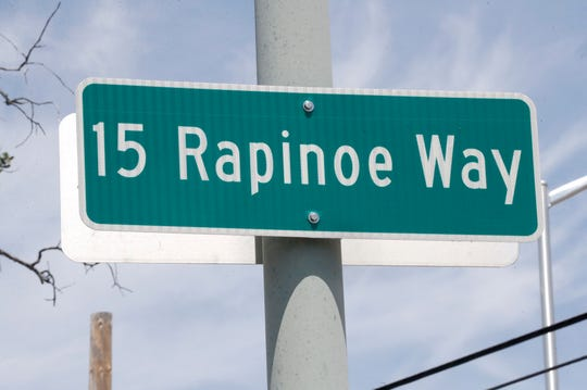 The road into the California Soccer Park in Redding is named 15 Rapinoe Way after Megan Rapinoe's jersey number.