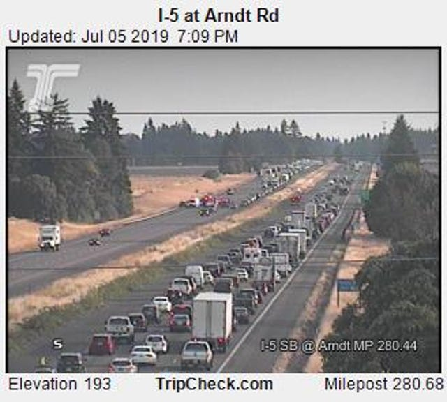 Northbound lanes of I-5 south of Wilsonville open following