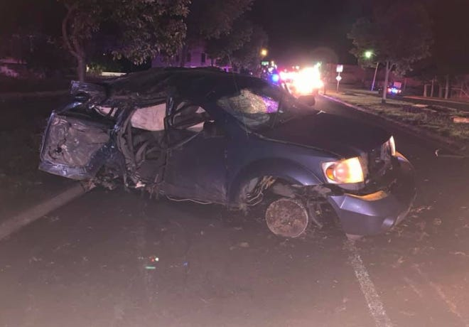 A vehicle crashed near Mertzon on Friday, July 4, 2019 after a pursuit involving the Reagan County Sheriff's Office.