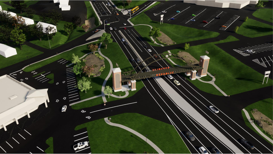A conceptual drawing of a planned pedestrian bridge over U.S. Highway 60, as shown in a staff report prepared for the Republic City Council. The council is set to consider applying for a federal grant to help pay for the improvements Tuesday night.