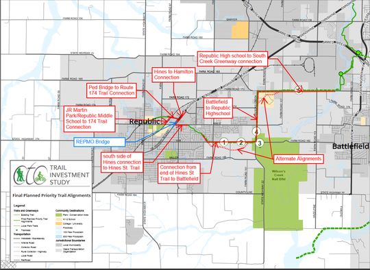 A map of planned improvements to the local greenway system, as shown in a staff report prepared for the Republic City Council. The council is set to consider applying for a federal grant to help pay for the improvements Tuesday night.