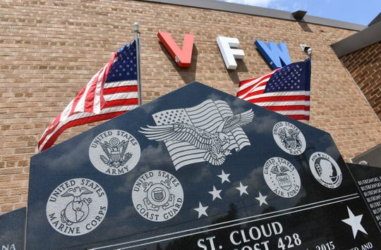American flags and a monument to fallen soldiers grace the front of the VFW Granite Post 428 Saturday, July 6, 2019, in St. Cloud.