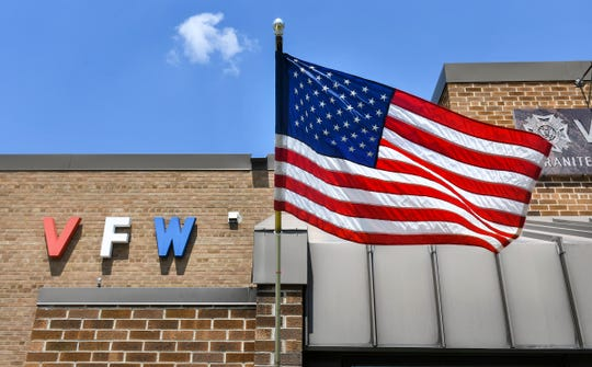 The flag flies under bright afternoon sunlight Saturday, July 6, 2019, at the VFW Granite Post 428 in St. Cloud.