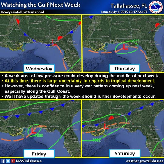 NWS Tallahassee tweeted on Saturday to provide an update on tropical weather development in the next week.