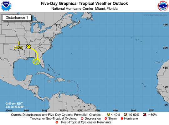 A look at a five-day tropical weather report from Miami's National Hurricane Center.