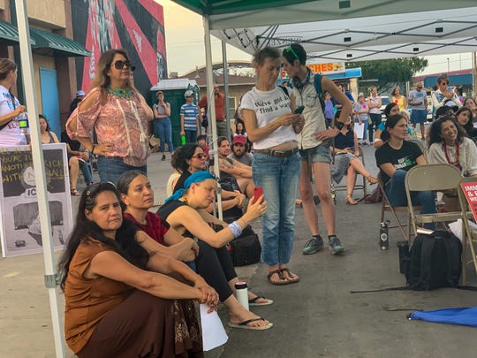 Artists from across the country gather Friday, July 5, 2019, at the Border Agricultural Workers Project to call for humane treatment of immigrants, of refugees and the immediate closure of Border Patrol facilities where they are being held.