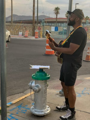 Sekou Luke from New York prepared to perform at the Artists Uprising at the El Paso Border. Artists from across the country gathered at the Border Agricultural Workers Project to call for humane treatment of immigrants, of refugees and the immediate closure of Border Patrol Facilities where they are being held July 5, 2019.