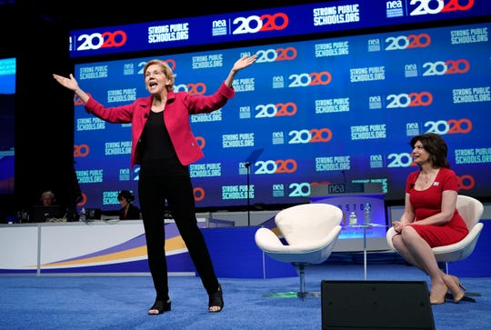 Democratic presidential candidate Sen. Elizabeth Warren, D-Mass., speaks during the National Education Association Strong Public Schools Presidential Forum Friday, July 5, 2019, in Houston.