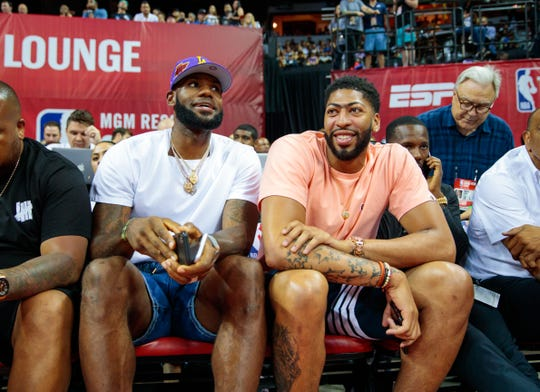 LeBron James and Anthony Davis in attendance for the NBA Summer League game between the New Orleans Pelicans and New York Knicks.