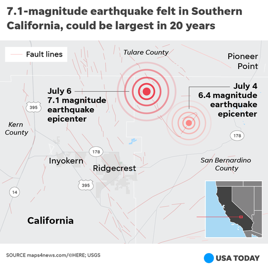 A proliferation of small fault lines can be seen in the area where the July 4 and 5 California earthquakes happened.