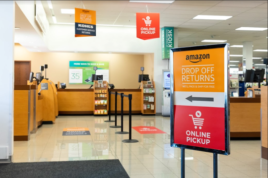 Go to Kohl's customer service to drop off Amazon returns.