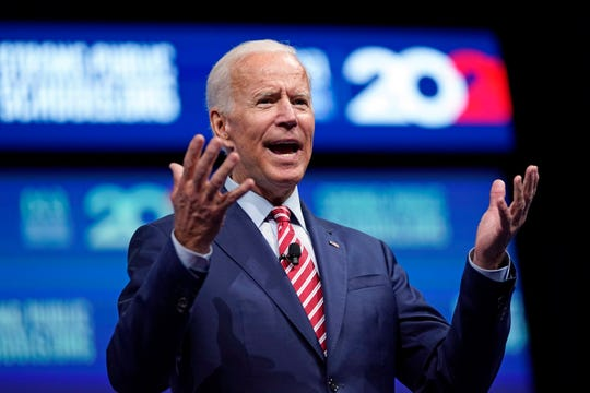 Democratic presidential candidate and former vice president Joe Biden speaks during the National Education Association Strong Public Schools Presidential Forum Friday, July 5, 2019, in Houston.