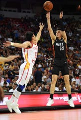 Miami's Tyler Herro shoots against the Chinese National Team during an NBA Summer League game in Las Vegas.