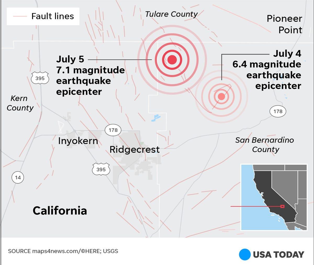 No, the Ridgecrest earthquakes weren't along the San Andreas fault
