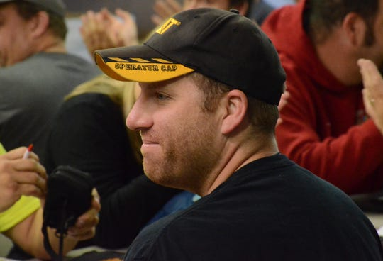 Steve Mitchell hears Sunday that he won the Field of Flight.