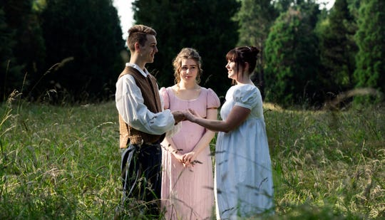 From left, Orlando (Gavin Michaels), Celia (Citori Luecht) and Rosiland (Amanda Rae Pease) meet in the Forest of Arden.