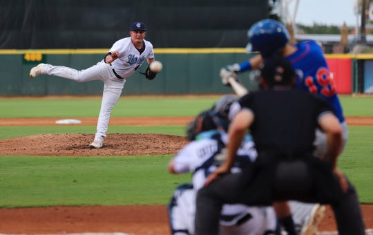 Hooks pitcher Chad Donato throws on Saturday, July 6 at Whataburger Field. Donato threw 6.2 shutout innings his Double-A debut.