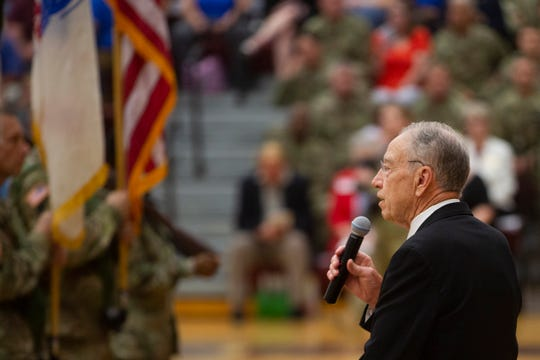 Sen. Chuck Grassley, R-Iowa, speaks at the farewell ceremony for Army Reserve troops of the 103rd ESC on July 7, 2019, at Lincoln High School.