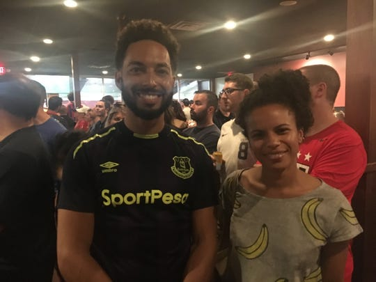 Allen Penniman of Detroit and Azzurra Cox of Seattle attend the World Cup finals watch party at the Detroit City Clubhouse on Sunday, July 7.