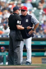 Tigers manager Ron Gardenhire talks with umpire Will Little after designated hitter Miguel Cabrera was ejected from the game during the second inning on Sunday, July 7, 2019, at Comerica Park.