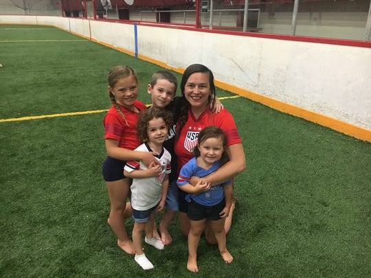 From left. Penelope Piccirilli, Lillian Dold, Brayden Dold, Frankie Piccirilli and Giselle Piccirilli on the soccer field at the Detroit City Fieldhouse on Sunday.