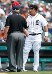 Tigers designated hitter Miguel Cabrera argues with umpire Joe West after getting ejected from the game during the second inning on Sunday, July 7, 2019, at Comerica Park.
