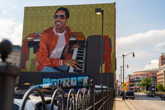 A mural of Stevie Wonder on the rear of Music Hall in Detroit is seen on Wednesday, July 3, 2019.