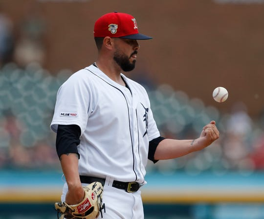 Tigers pitcher Nick Ramirez tosses the ball during the fifth inning on Sunday, July 7, 2019, at Comerica Park.