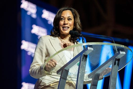 Democratic presidential candidate, Sen. Kamala Harris, D-Calif., speaks at the 2019 Essence Festival at the Ernest N. Morial Convention Center on Saturday, July 6, 2019, in New Orleans.