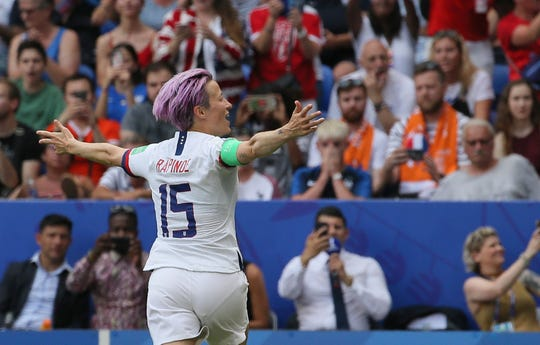 United States' Megan Rapinoe celebrates after scoring her side's opening goal during the Women's World Cup final  Sunday.