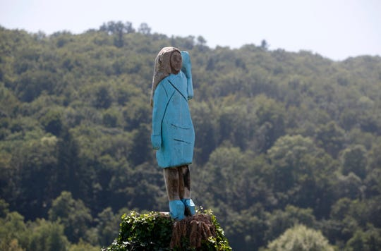 In this Friday, July 5, 2019 photo, a sculpture created by American artist Brad Downey depicting Melania Trump is seen in her hometown in Sevnica, Slovenia.