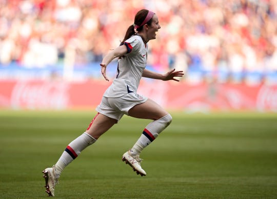 United States' Rose Lavelle celebrates after scoring her team's second goal during the Women's World Cup final.