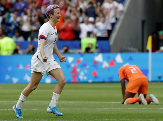 The United States' Megan Rapinoe celebrates after winning the Women's World Cup final. Rapinoe scored on a second-half penalty shot.