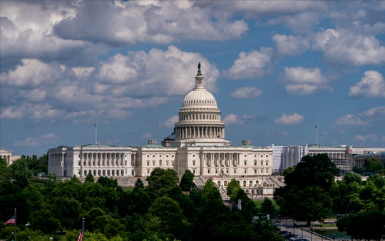 In this June 20, 2019 photo, the Capitol is seen from the roof of the Canadian Embassy in Washington.