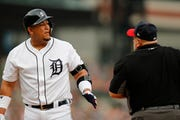 Detroit Tigers designated hitter Miguel Cabrera argues a call with home plate umpire Eric Cooper during the first inning of Friday's game.