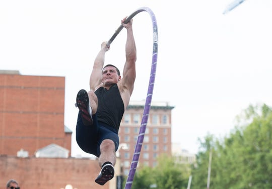 Matt Ludwig competes in the elite category during the Liberty Bridge Jump-Off on Main Street in Greenville Saturday, July 6, 2019.