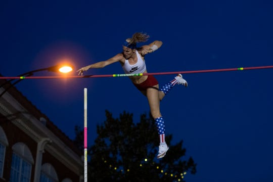 Sandi Morris competes in the elite category during the Liberty Bridge Jump-Off on Main Street in Greenville Saturday, July 6, 2019.