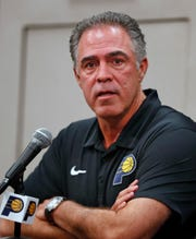 Pacers President of Basketball Operations Kevin Pritchard speaks about new Pacers players T.J. Warren and Jeremy Lamb during an Indiana Pacers press conference at Bankers Life Fieldhouse, Sunday, July 7, 2019.