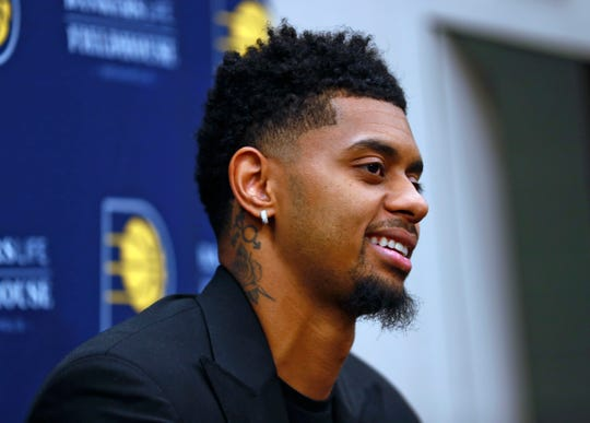 New Pacer Jeremy Lamb answers questions during an Indiana Pacers press conference at Bankers Life Fieldhouse, Sunday, July 7, 2019.