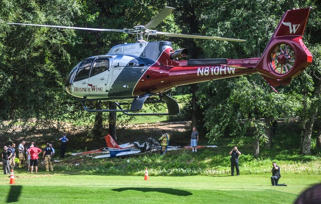 A medical helicopter lifts off with a patient following a plane crash on the 17th tee area of the Ole Miss Golf Course in Oxford , Miss. on Saturday, July 6, 2019.