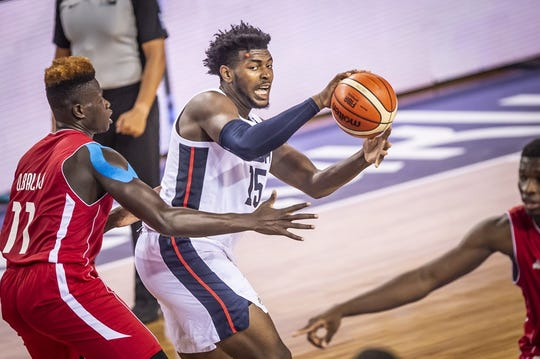Purdue's Trevion Williams (15) passes during the USA's 93-79 victory over Mali  in the gold medial game of the FIBA U19 World Cup.